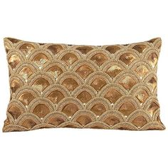 Pomeroy Gilded Scallops Oblong Throw Pillow ($51) ❤ liked on Polyvore featuring home, home decor, throw pillows, multicolor, colorful home decor, oblong toss pillows, polka dot throw pillows, patterned throw pillows and multi colored throw pillows