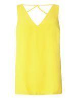 Womens Yellow Cross Back Top- Yellow