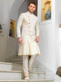Shop Cream alluring wedding wear sherwani online from India. India Fashion Men, Indian Men Fashion, Mens Fashion Wear, Summer Wedding Outfits, Wedding Dress Men, Wedding Suits, Men's Wedding Wear, Sherwani Groom, Wedding Sherwani