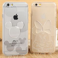 """Hot Minnie mickey Transparent Soft TPU Cover Cases For iPhone 6/6s 4.7"""" Phone Cases"""