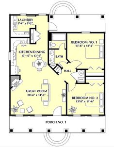 This southern design floor plan is 1097 sq ft and has 2 bedrooms and has 1 bathrooms. Cottage House Plans, Small House Plans, Cottage Homes, House 2, Cottage Style Houses, Guest House Plans, Small Floor Plans, Tudor House, The Plan