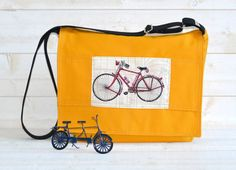 Large Canvas Messenger bag 17  Laptop bag UNISEX YELLOW by ikabags,