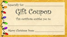 Need A Last Minute Christmas Gift? Free, printable Christmas gift coupons will let you make your own gift certificates.  Just print, cut out and fill in the blanks. You can even staple a bunch together and make a holiday gift booklet.  More free printables and party stuff at http://www.photo-party-favors.com/