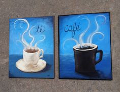 Love of Coffee Mug Bistro Art --11x14 Kitchen Home Decor- Custom Original painting on canvas, cappucino, latte, espresso. $75.00, via Etsy.