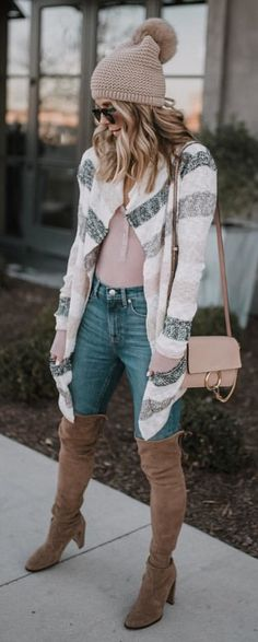 #winter #outfits gray and black knitted cardigan, brown knitted bobble hat,blue denim jeans, and pair of suede heeled boots outfit
