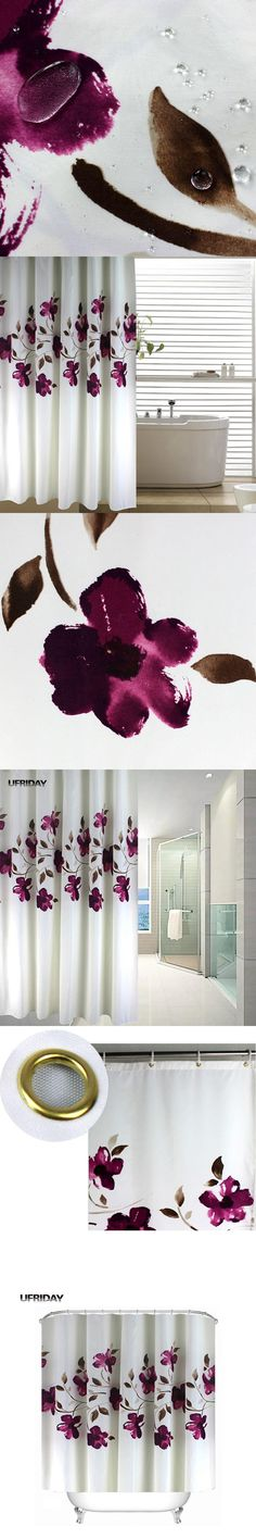 UFRIDAY Shower Curtain Floral Vintage Purple Flowers Cortinas Multi-size Polyester Waterproof Shower Curtains Bathroom Curtain