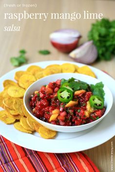 Raspberry mango lime salsa - from fresh or frozen berries! With plantain chips - gluten-free, paleo appetizer