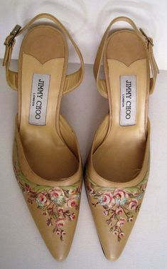 187b5018bad JIMMY CHOO beige leather hand painted pumps HEELS slings shoes 7  850 new  nwob  fashion