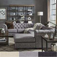 Shop Knightsbridge Tufted Scroll Arm Chesterfield U-Shape Sectional with Chaise by iNSPIRE Q Artisan - On Sale - Overstock - 20664660 - Dark Grey Linen - Right Facing Living Room Furniture, Living Room Decor, House Furniture, Living Rooms, Living Spaces, Tufted Sectional, Chesterfield Sofa, U Shaped Sectional Sofa, Leather Sectional