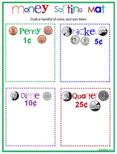 Great way to teach your kids about money. I like to use this activity to teach them ways to save their money as well! 1st Grade Math, Kindergarten Math, Math Classroom, Teaching Math, Grade 1, Second Grade, Classroom Ideas, Coin Sorting, Hands On Learning
