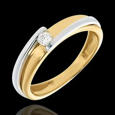 Contemporary Solitaire ring yellow and white gold (Engagement rings ) : edenly jewellery