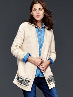 Fair isle knit open cardigan