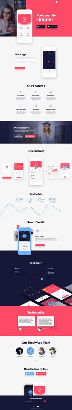 Simply is One Page PSD template with modern, and clean design suitable for app…: