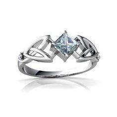 14K White Gold Square Genuine Aquamarine Celtic Knot Ring Size 6.5, (celtic, rings, celtic jewelry, sterling silver, earthy jewelry, celtic knot jewelry, celtic knot sterling silver jewelry, jewelry, ring, silver celtic jewelry)