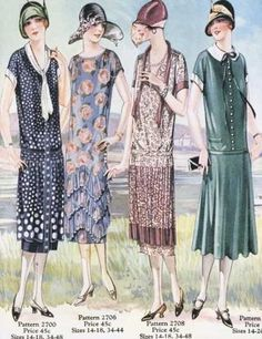 Four lovely drop waist 1920s summer dresses