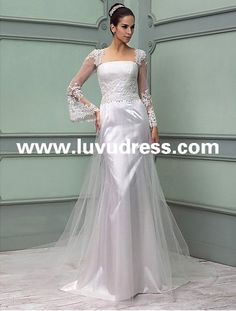 Sheath/Column Queen Anne Floor-length Tulle And Lace 2015 Wedding Dress