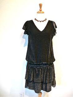 1960s Dress does 20s Flapper Dress Black Lace by KMalinkaVintage,