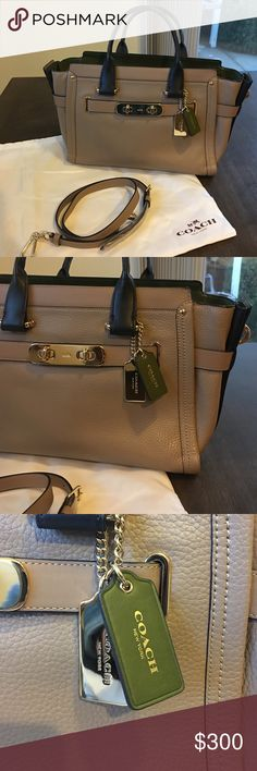 Authentic Coach mid size handbag Authentic Coach handbag with optional crossbody strap. Taupe color with gold accents and a dark green interior. In brand new condition with no flaws or signs of wear!! Comes with dust bag. Dimensions: 8.5 inches tall, 12.5 inches wide, 5 inches deep. Coach Bags Crossbody Bags