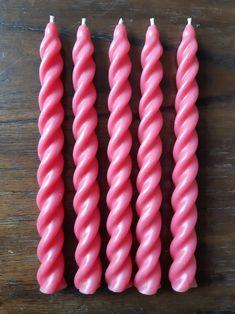 Pink beeswax no drip candles spiral candles 100% natural | Etsy