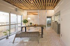 床と壁に貼った合板は染色塗装。木目の主張が強い針葉樹合板も、こんな仕上げなら軽やかな印象に。