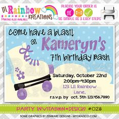 028 DIY Let's Roll 2 Party Invitation Or Thank by LilRbwKreations