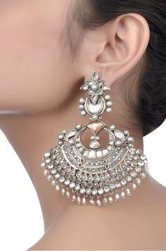Silver Oxidized Pearl Beaded Earrings | Amrapli <3 <3 <3