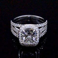 3.35 Ct. Halo Radiant Cut French & Micro Pave Diamond Engagement Ring GIA E,VS2 - Recently Sold Engagement Rings