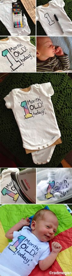 One-Month Old Baby + One 10-Minute Craft: Status COMPLETE! - Radmegan Other month ideas here, too