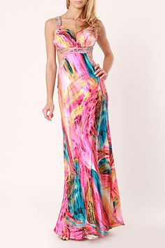 Ignite Evenings  Printed Charmeuse Beaded Gown In Fuchsia Multi