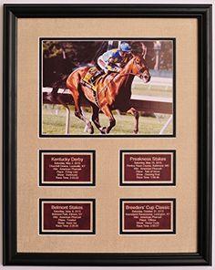 American Pharoah Pharaoh Horse Racing Grand Slam Photo w/ Saddle Leather Statistic Plaques for All 4…