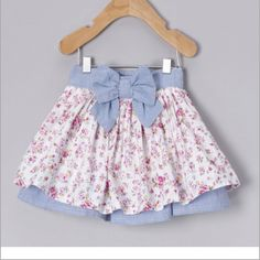 Take a look at this Blue Floral Bow Skirt - Infant by Adams on today! Little Girl Skirts, Baby Girl Skirts, Skirts For Kids, Cute Baby Girl Outfits, Baby Dress, Kids Outfits, Sewing Kids Clothes, Clothes For Women, Toddler Fashion
