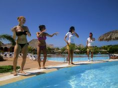 Cayo Santa Maria - There are tons of activities every day at the Memories Azul Beach Resort...including these poolside keep fit classes.