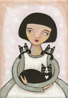Girl with Her Cats Original Cat Folk Art Painting. $40.00, via Etsy.