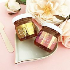 Honey Wedding Favor Jars Love is Sweet Favors with Gold Favor