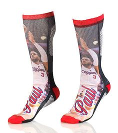 FOR BARE FEET Chris Paul LA Clippers crew sock Stretch fabric for ultimate comfort Moisture resistant Padded heel for performance