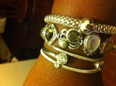 Silpada bracelets, more mixing and matching arm candy with various stones.