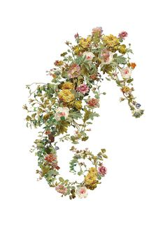 An A2 piece made entirely from old floral wallpaper samples. Limited edition hand glossed and signed. #itsnotenoughtobebeautiful #floralart #seahorseart