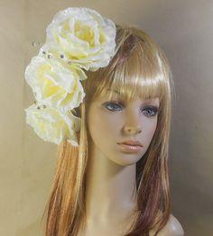 Ivory Roses Hair Fascinator  by IrmasElegantBoutique