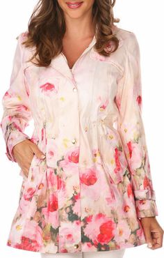 Light Pink Floral Trench Coat