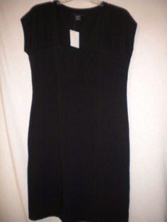 Boston Proper Size Medium Black Square Neck Sleeveless Womens Little Black Dress #BostonProper #LittleBlackDress #Versatile
