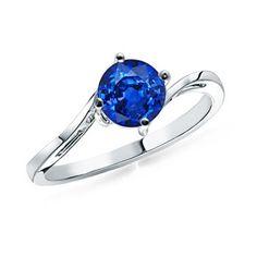 Round Sapphire Curved Shank Ring: Angara