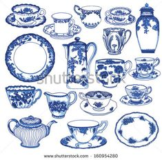 Hand drawn porcelain teacups and saucers, teapots, plates, creamers etc, in cobalt blue Toile de Jouy pattern