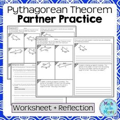 Pythagorean theorem Practice Worksheet Awesome Pythagorean theorem Partner Practice and Reflection Algebra Activities, Math Resources, Teaching Geometry, Teaching Math, Math Teacher, Math 8, Math Class, Reflection Math, Pythagorean Theorem
