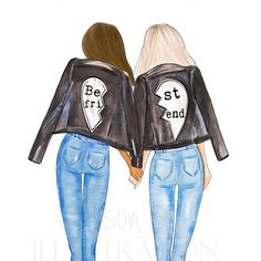 Best friends personalized wall art multi cultural friends fashion illustration print gift for sister twin roommate add name to the print Drei beste freunde Bff Pics, Best Friend Pictures, Bff Pictures, Friends Mode, Music Poster, Girly Drawings, Friends Wallpaper, Drawings Of Friends, Personalized Wall Art
