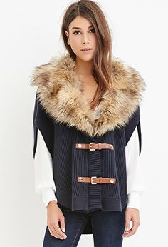 10bee3968698 Contemporary Faux Fur Ribbed Poncho | Forever 21 Canada Fur Trim, Outerwear  Jackets, Fur