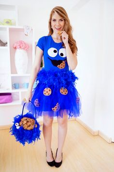 DIY Cookie Monster Costume w/Tutorial! Everyone loves cookie monster! Only this would be cuter on a little little girl