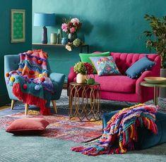 34 Charming Boho Living Room Decorating Ideas With Gypsy Style - boho decor diy Home Design, Interior Design, Design Ideas, Boho Chic Living Room, Gypsy Living, Living Room Decor Inspiration, Colourful Living Room, Colourful Lounge, Colorful Couch