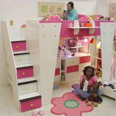 Kids Beds with Storage, Brilliant Multifunctional Furniture: Beautiful Kids Beds With Storage White Bed Drawers Stairs Flower Pink Carpet ~ warnhouse.com Kids Room Inspiration