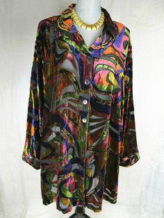 Velvet Burnout Top 3X Tunic Travel Collection Shirt Womans Boho Arty Blouse #velvetburnout#fashion#arty#plus#trend#style#boho#deal