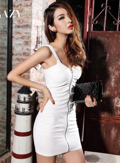 White Day Dress - Low-cut Metal Zipper Slim Dress $54